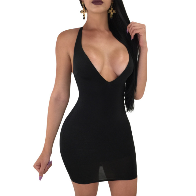 Sexy backless low cut cross lace up mini bodycon bandage dress Robe tight  Women v neck 135114bc4