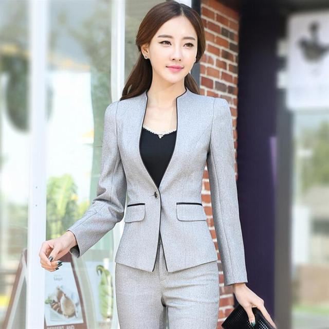 8226b8c72d8e1 2018 Autumn Woman Blazer Pants 2 Pieces Female Work Office Slim Sets Female  OL Sets Plus Size Formal Business suit pants