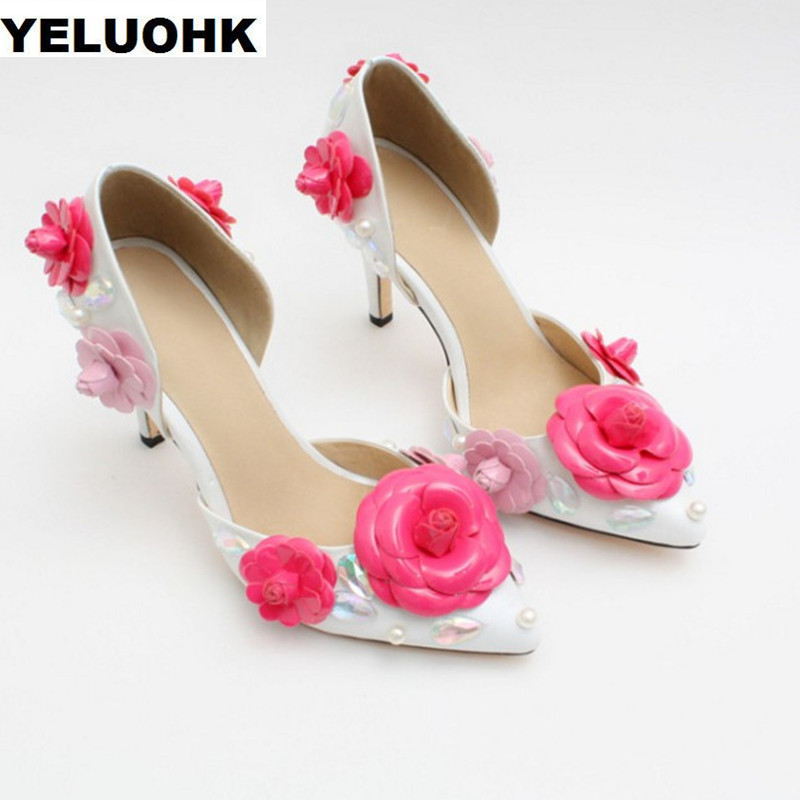 все цены на Brand New White Shoes Women Wedding Shoes Sexy High Heels Fashion Flower Pointed Toe Leather Shoes Woman Pumps 8cm With Crystal