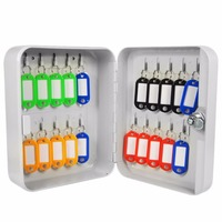LESHP Key Cabinet Box 20 Tags Fobs Wall Mounted Lockable Security Metal Cupboard Safe For Home