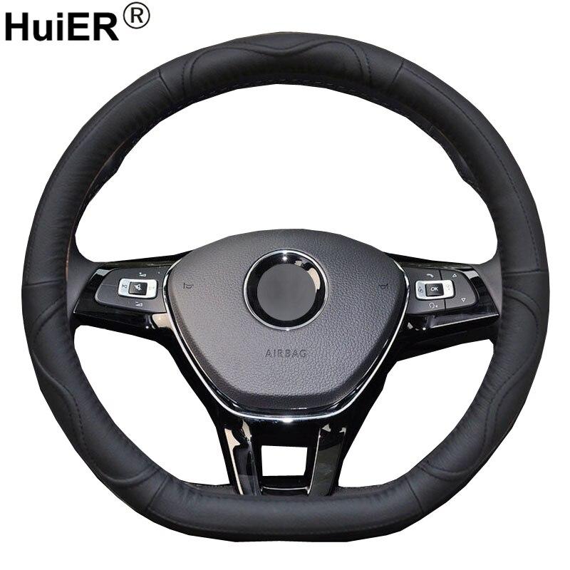 HuiER Car Steering Wheel Cover D Shape Cow Leather For Volkswagen VW Golf R Alltrack Passat jetta Audi TT Citroen Peugeot Geely