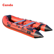 Cando Inflatable Boats Clip Net Fishing Boat Rowing Boat Ship 1-9 Person With Wooden Slats Bottom For Drifting Surfing Sandbeach