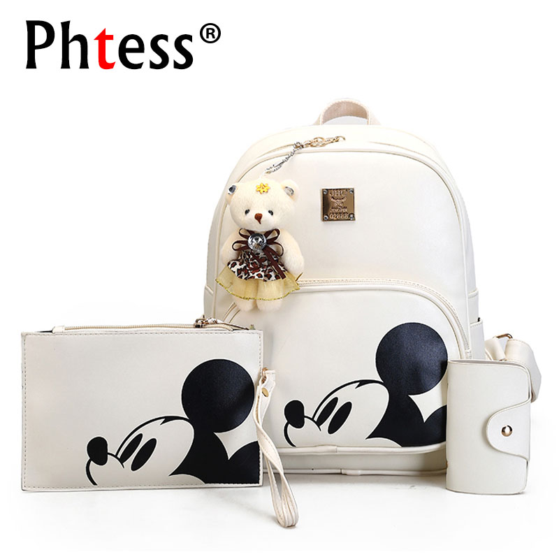 Mickey Cartoon Leather Composite Women Backpack School Bags for Teens Cute Bagpack Sac A Dos Femme Mochila Backpacks for Girls vintage cute owl backpack women cartoon school bags for teenage girls canvas women backpack brands design travel bag mochila sac