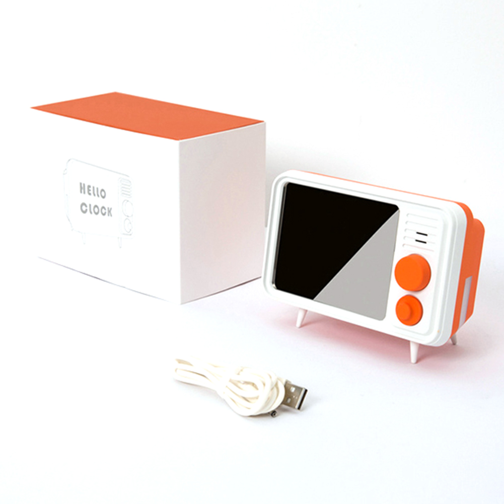 Image 1 - Hot Retro Tv Shape Alarm Clock Lamp Mirror Multi Function Mirror Clock Thermometer Bed Multi Function Clock Orange-in Alarm Clocks from Home & Garden