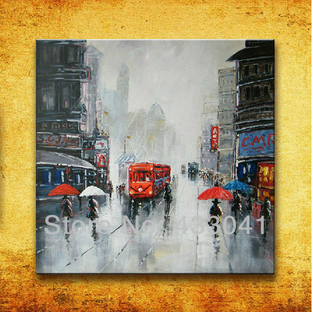 City New York Oil Painting On Canvas Wall Art For Living: Hand Painted Modern Abstract France Paris City Street