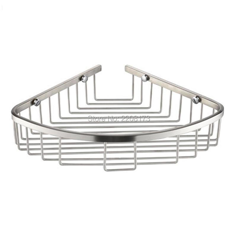 Promotion Luxury Stainless Steel Brushed Nickel Hanging Shower Caddy Bathroom Floor Corner Storage Rack Shelf Organiser Basket