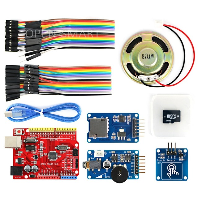 Wav Player Kit with UNO R3 Micro SD Card Touch Sensor Module and Speaker  for Arduino Voice Broadcast