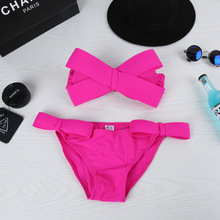 Stereo bow bikinis / steel three piece swimsuit to gather support