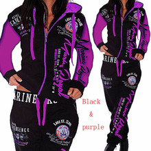 Zogaa Hoodies Clothing Warm Women Ladies letter Tracksuit Set 2pcs Tops Pants Suit