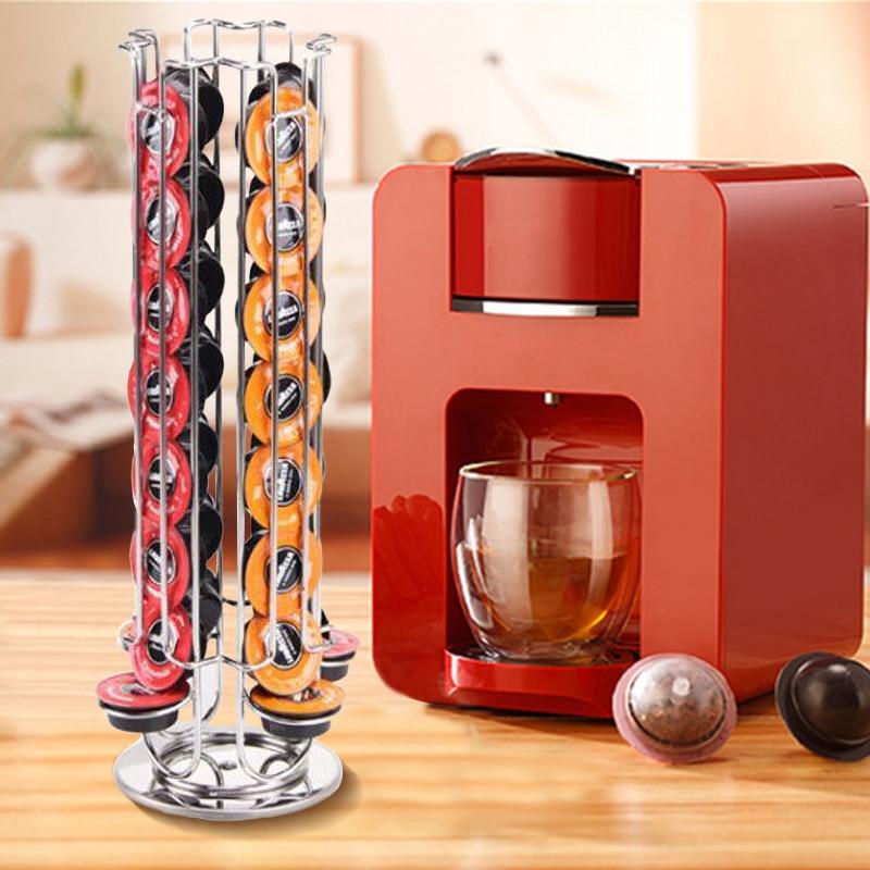 YONTREE 1 Pc 32 Cups Rotatable Lavazza mio Coffee Capsules Shelf Stainless Steel Plating Storage Racks