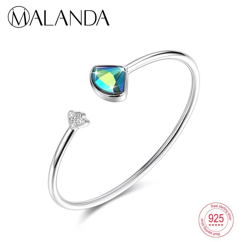 MALANDA Sterling Silver Crystals From Swarovski Open Bracelets Bangles For Women Fashion Zircon Bracelet Wedding Jewelry Gift все цены