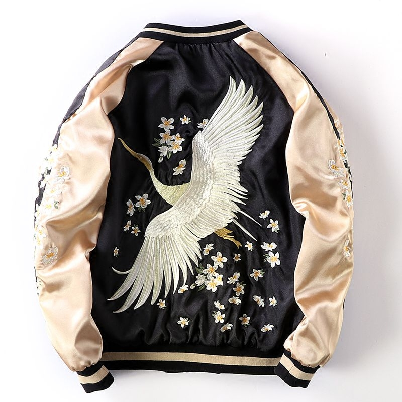 Chic Crane And Flower Embroidery Pilot Bomber   Jacket   Female Loose   Basic     Jackets   Coat Women Spring Autumn Unisex   Jacket   Tops