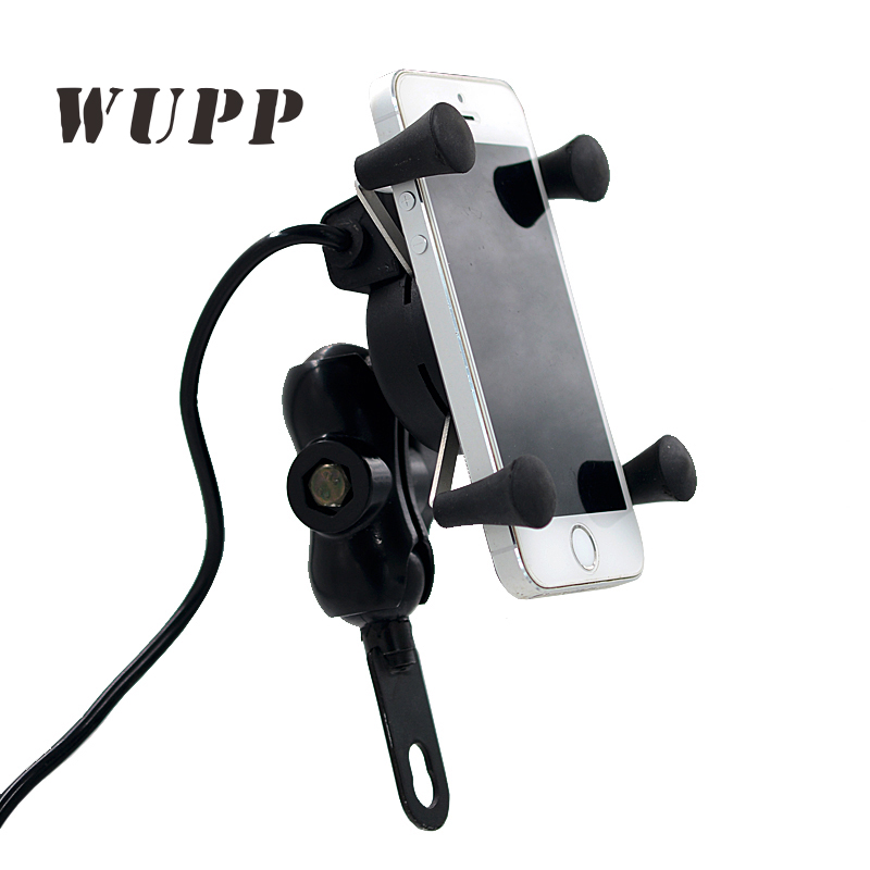 WUPP Wupp Universal X- Grip Phone Mount Holder Motorcycle Smartphone Cellphone Gps Holder Usb Charger