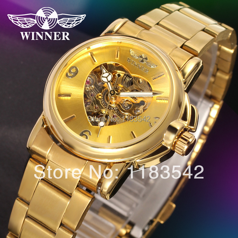 WINNER Women's Watch Fashion Lady Automatic Classic Stainless Steel Bracelet Wristwatch Color Gold winner woman s watch fashion lady design brand automatic dress wristwatch wrl8011m3g3