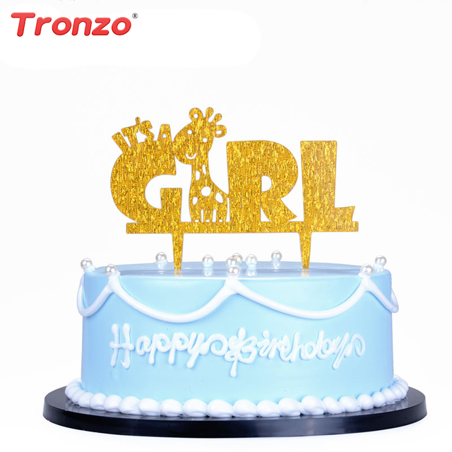 Aliexpress Buy Tronzo Cute Giraffe Acrylic Birthday Cake