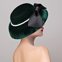 Velvet Cloth Big Bow Pearls Women Elegant Hat Ladies Cocktail Hair Accessories Dinner Party Headwear Hair