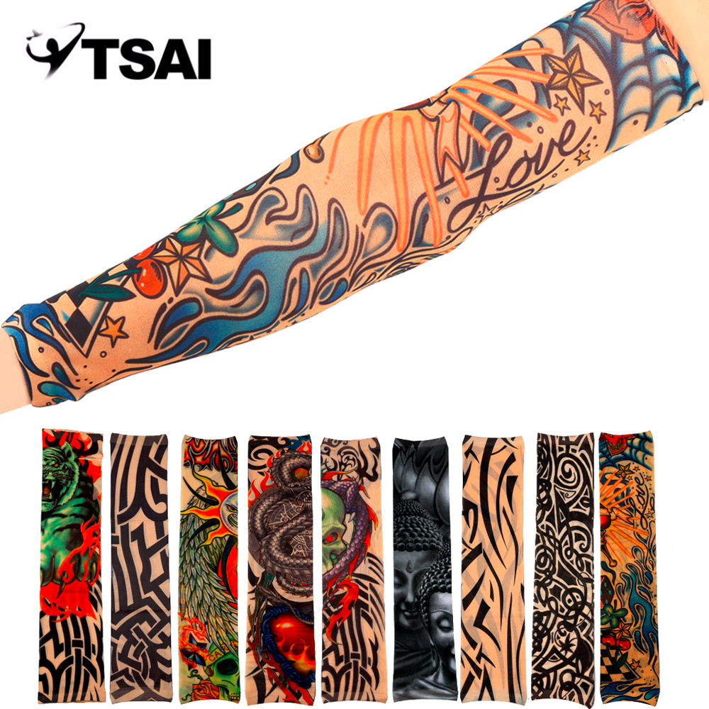 1Pcs Universal Fake Tattoo Elastic Arm Sleeve Sport Accessory Skins Sun Protective For Cycling Camping Running ...