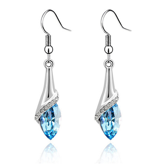 Ear Hook Earrings Women Hanging With Austrian Crystal Rhodium Plated Eelegant Costume Jewelry For Las
