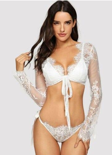 Women s Sexy Lace Sleepwear font b Lingerie b font Long Sleeve Bikini Summer Beach Blouse