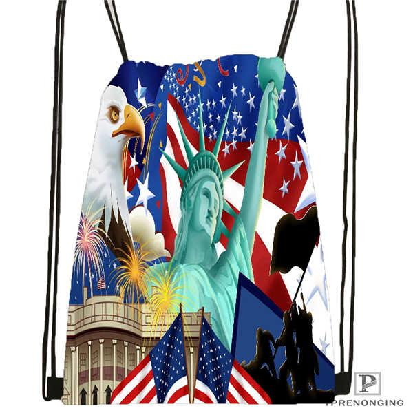 Custom Statue Of Liberty America Flag Drawstring Backpack Bag Cute Daypack Kids Satchel Black Back 31x40cm