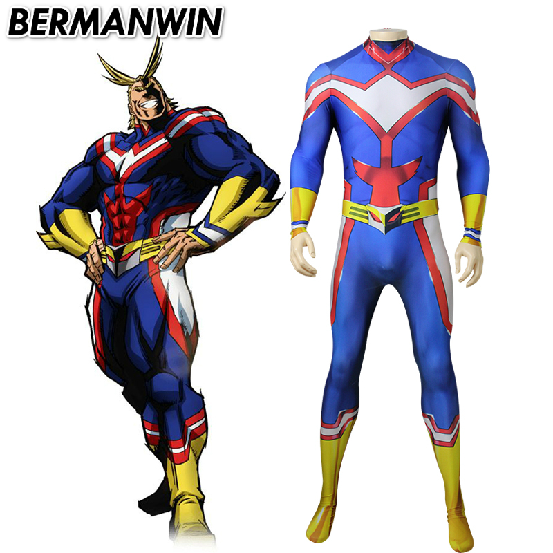 BERMANWIN High Quality My Hero Academia All Might Cosplay Costume Zentai Lycra Spandex Blue Bodysuit Jumpsuit Halloween Costume