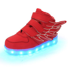 Kids USB Rechargeable Led Sneakers Children Luminous PU Shoes Boys Girls Led Lighted Casual Fashion Shoes With Wing 6 Colors