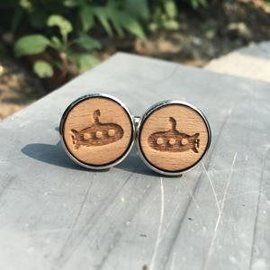 Подводная лодка деревянные Запонки Подарок для папы, отца невесты жениха запонки с деревянными элементами деревенская свадьба ручной рабо...