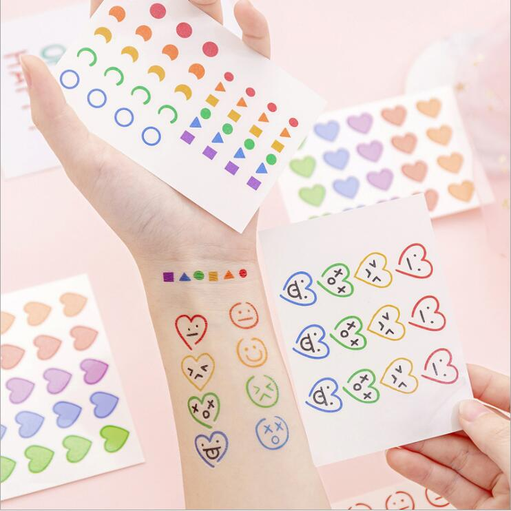 New Arrival 4pcs/set Korean Creative Cartoon Smile Face Tattoo Stickers Durable Waterproof Cute Girl Sticker