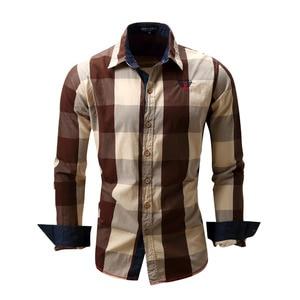 Image 4 - 2020 New Men 100% Cotton Plaid Shirt Long Sleeve Slim Fit Dress Shirts Casual Fashion Business Social Shirt Plus Size M 3XL 099