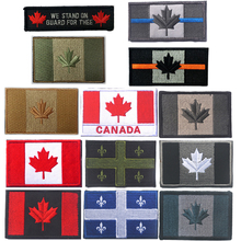 Embroidered Canada Flag Quebec Patch Army Tactical Military Canadian Maple Leaf Badges Armband National Flag Embroidery Patches(China)