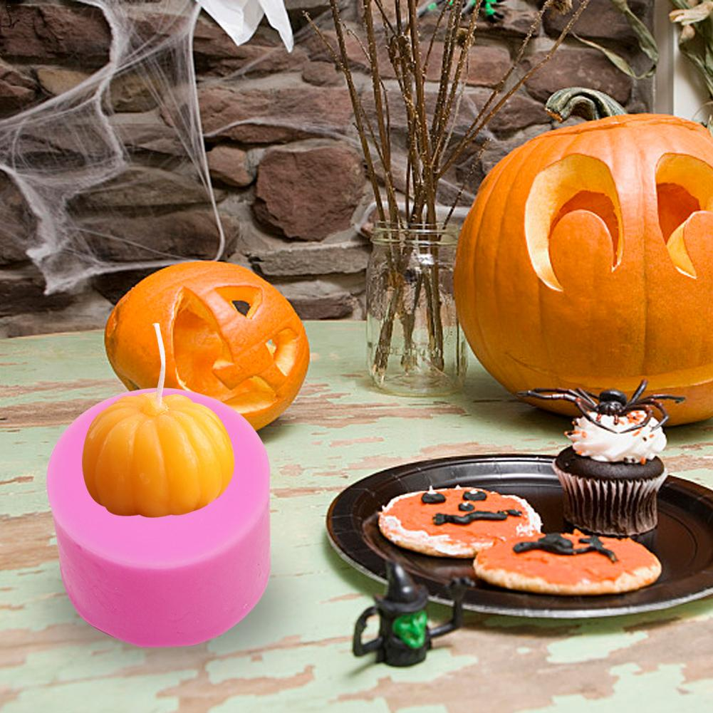 Silicone Mold Halloween 3D Stereoscopic Pumpkin Ice Cube Tray Chocolate Cake Decoration Cookie Fondant Cupcake Mould Bakeware in Clay Molds from Home Garden