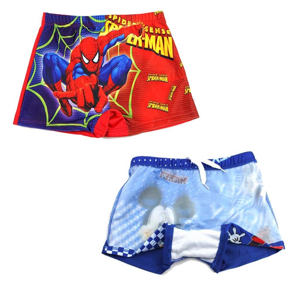 Baby boys swimwear 2018 kids summer cartoon spiderman,mouse superman beach shorts cute boys swim trunks child kids