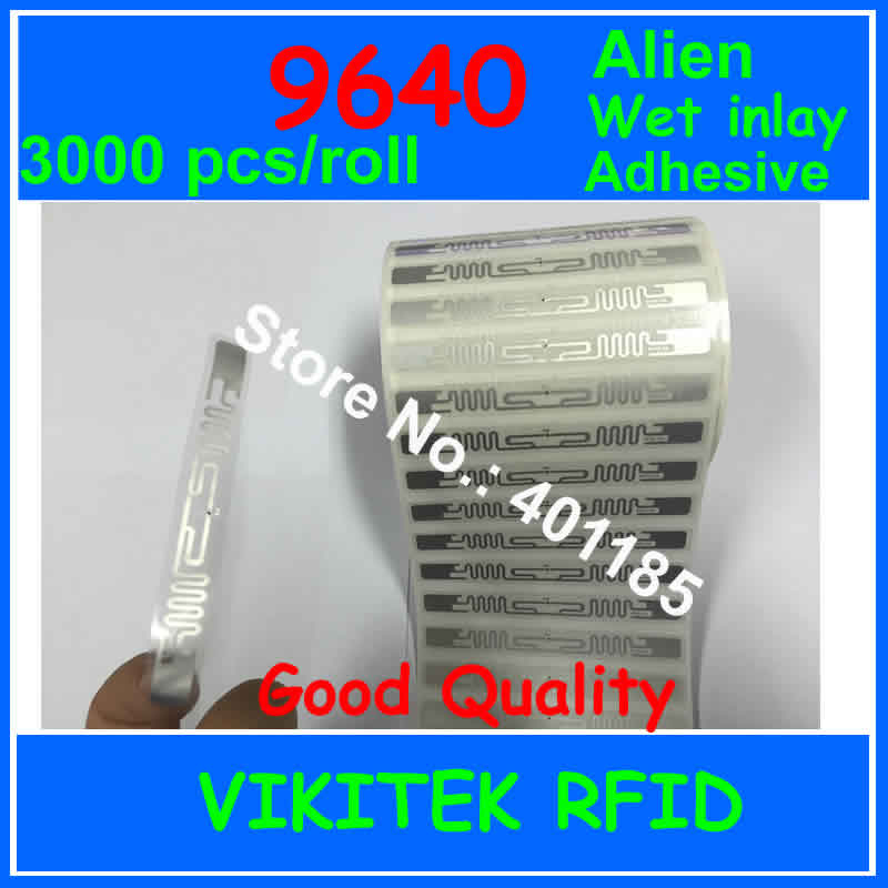 Alien authoried 9640 UHF RFID wet inlay sticker 3000pcs per roll 860-960MHZ Higgs3 EPC C1G2 ISO18000-6C used to RFID tag label uhf rfid passive tags alien 9629 dry inlay 860 960mhz higgs3 epc c1g2 iso18000 6c can be used to rfid tag label 100pcs per roll