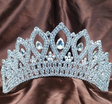 Vintage Silver Tiaras Diadem 3.5″ Clear Rhinestones Crystal Bridal Wedding Crowns Pageant Party Headband Hair Jewelry