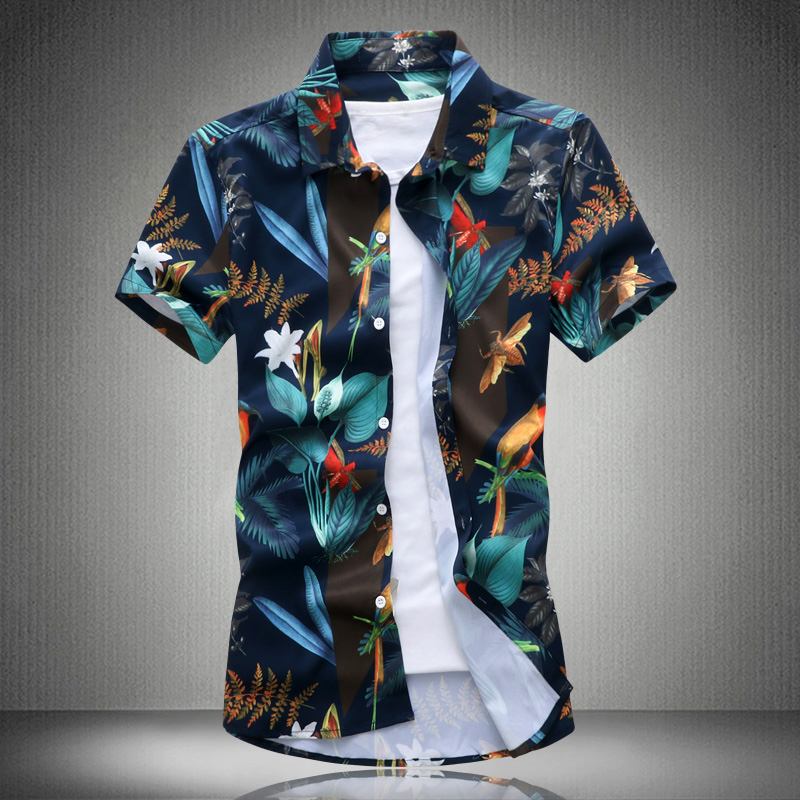 Print Both Sides Hight Quality 2019 M-5XL Plus Size Summer Mens Short Sleeve Shirt Flower Print Floral Male Blouse