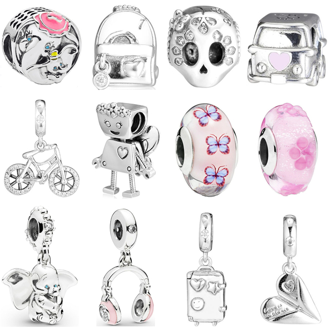 2019 Spring Life Moments Sterling Silver 925 Charms fits  Original Bracelet Bangles Cartoon Hanging Beads DIY Accessories