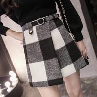 a word skirt thick wool asymmetric grid mini skirts England style plaid skirt