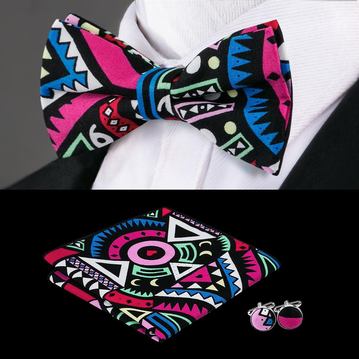 Haben Sie Einen Fragenden Verstand F-685 Hallo-krawatte Neue Entworfene Mens Fliege Set Candy Farbe Bowtie Taschentuch Manschettenknöpfe Geometrische Baumwolle Fliege Für Männer Corbatas Bekleidung Zubehör