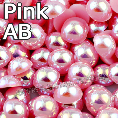 Pink AB Half Round beads Mix Sizes 2mm 3mm 4mm 5mm 6mm 8mm 12mm imitation ABS Flat back Pearls DIY Nail Art jewelry Accessory