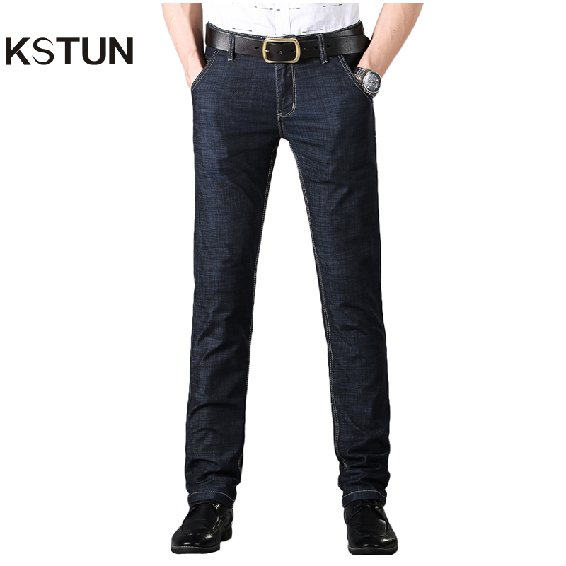KSTUN Business Casaul   Jeans   Men Black Straight Ultrathin Stretch Regular Fit Good Quality Famous Brand Mens   Jeans   Long Trousers