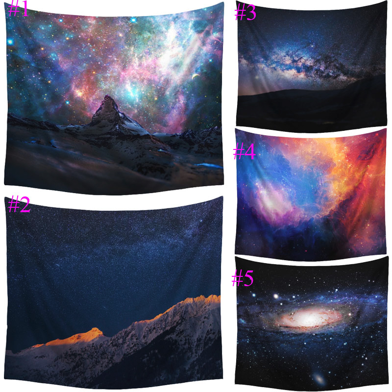 Comwarm Mystery Night Starry Polyester Pattern Tapestry Beach Throw Mat Yoga Rug Wall Hanging Gobelin Minimalist Home Decor Art