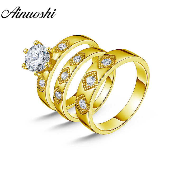 AINUOSHI 7.1g Real Gold TRIO Rings Bridal Ring Set Exquisite Band Engagement Jewelry 10K Yellow Gold Couple Wedding Rings Set