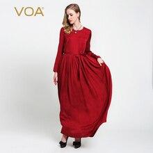VOA red long sleeved silk dress simple loose pleated silk dresses цены онлайн