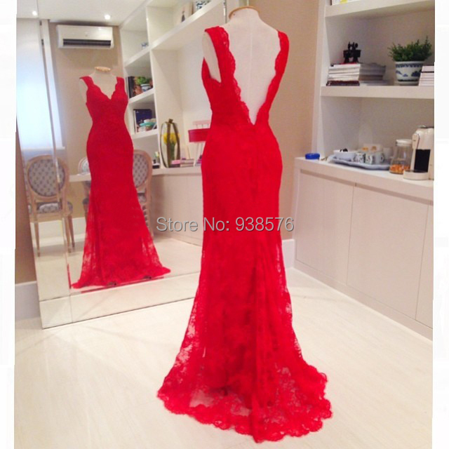 Vestidos De Festa VintageSexy Red Open Back Lace Mermaid Prom Dresses Women Elbise 2015 PartySpecial Occasion In From Weddings