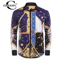 COOFADNY New Arrivals Men Luxury Design Printing Long Sleeve Button Down Dress Shirts Free Shipping
