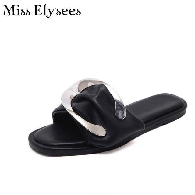 c825f6bde Brand Design Women New Fashion Flats Sandals Shoes 2017 Summer Open Toe  Metal Buckle Outdoor Slippers Ladies Fasion Flip Flops