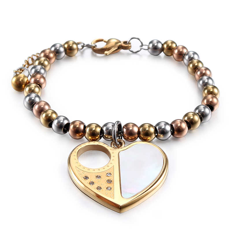 New design wholesale women fashion stainless steel charm bracelet personalized heart shape steel ball chain for women Br032212