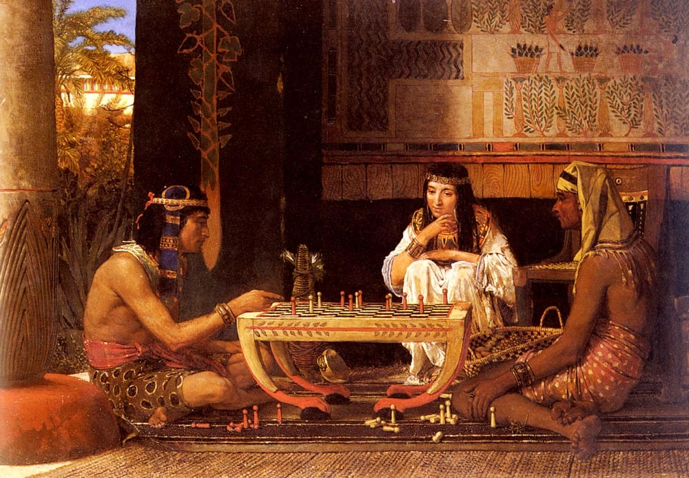 Classical Figure Art Oil Painting Reproduction on Canvas for Home Decor Egyptian Chess Players by Lawrence Alma Tadema Wall Art