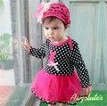 Otoño del resorte de los bebés vestidos de princesa de los mamelucos de una sola pieza infantil ropa atada dots ropa roupas de bebe 924a
