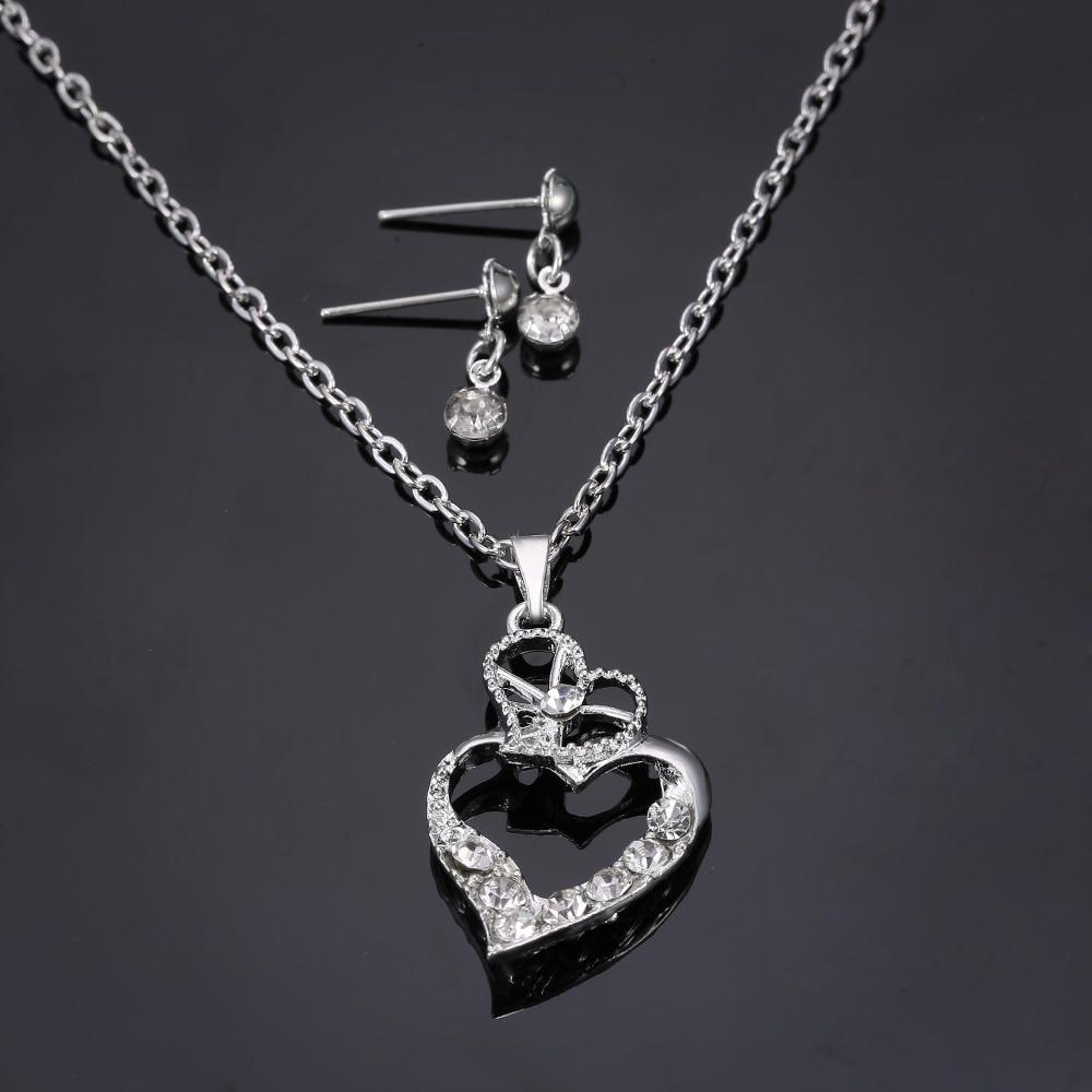 Rinhoo Love Heart Pendant necklace Jewelry set For women ...